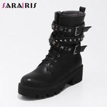 433528ac6271a1 SARAIRIS nouveau noir large Med talons ceinture boucle Zip Rivet croix  attaché chaussures décontracté femmes hiver