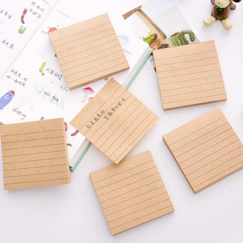 Korean Kraft Memo Pads Stationery Store Post it Sticky Note Notepad Diary Planner Stickers Escritorio Mini Pocket Accessory Book