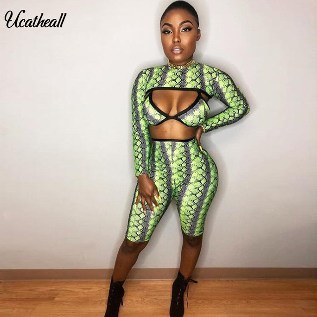 99d149d282d11 Green Snake Skin Print Sexy Two Piece Set Night Club Outfits For Women Deep  V Crop Top + Pants 3 Pieces Set Hollow Out