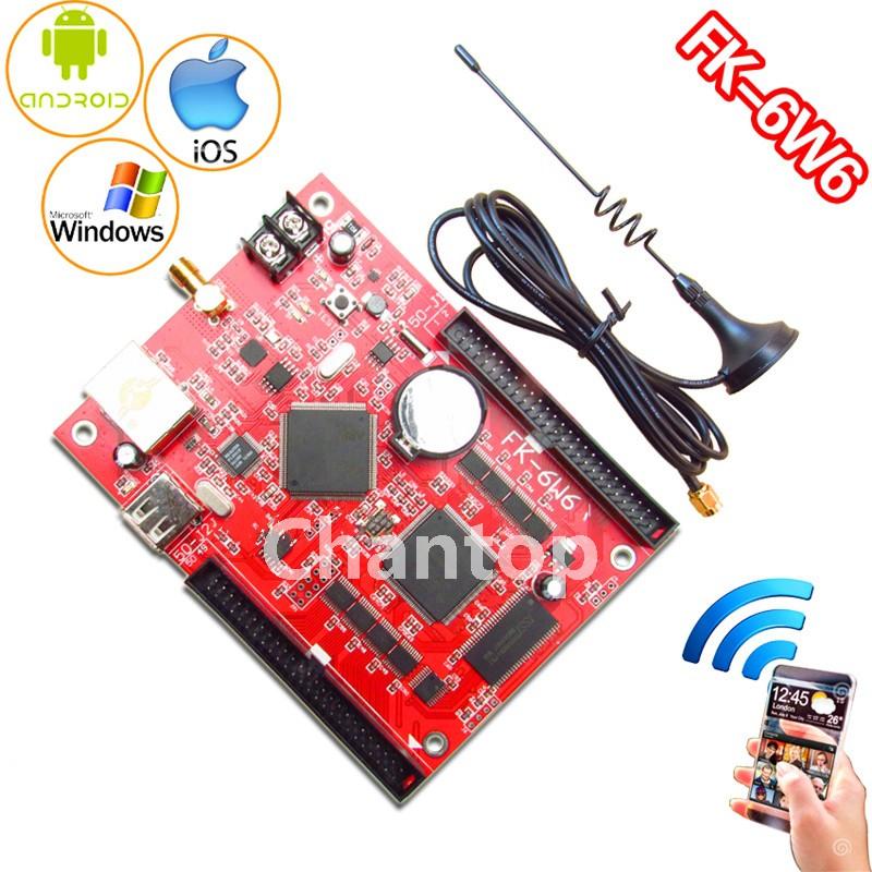 FK-6W6 wifi led control card Ethernet/USB wireless PC/Phone APP full color support p10,p13.33,p16,p4.75 led controller board fk cx5 rj45 netwok and usb led control card 2408 48pixels support single