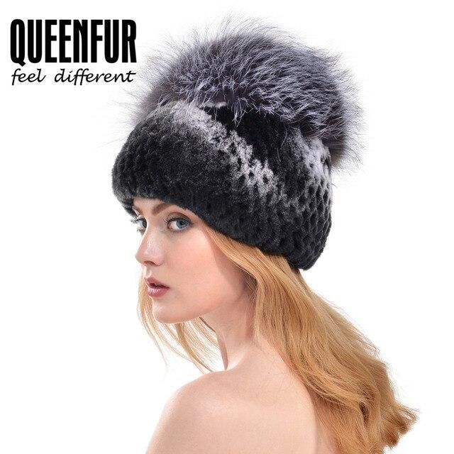 QUEENFUR 2016 Invierno Real Rex Rabbit Fur Hat Para la Mujer Con Pompones de Piel de zorro Top Causal de Punto Gorros de Piel de Conejo Natural tapas