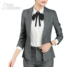 2017 Slim Women Work Office jaqueta feminina Lady Business Outwear Solid Casual Tops Coat Long Sleeve Blazer Gray Jacket Tops