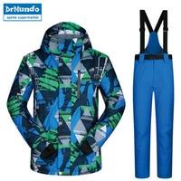 Men Ski Suit 2018 New Outdoor Warm Waterproof Windproof Breathable Male Winter Snowboard Jacket Pant Snow Set Ski Jackets Brands