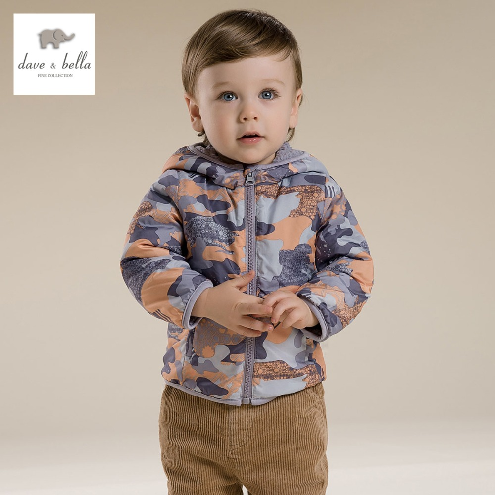 DB2858 dave bella spring baby boys camouflage coat infant print outerwear toddle coat kid plaid clothes