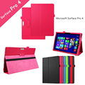 Surface Pro 4 Litchee Pattern Tablet Case for Microsoft Windows Surface Pro 4 12.3'' PU Leather Case