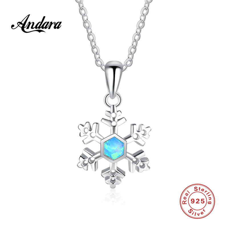 New Design Sterling Silver Necklace Snowflake Blue Pendant <font><b>Crystal</b></font> Necklace Woman Charm Jewelery image