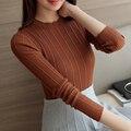 Novas mulheres da moda primavera outono camisola fêmea o-pescoço longo-luva de slim camisa básica apertado camisola do pulôver de tricô