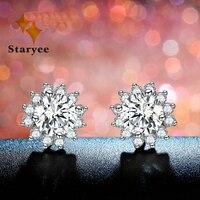 Sunflower 1CT Moissanite Stud Earring Fine Jewelry Genuine Charles Colvard VS G 3EX Gems Pure 18K White Gold Earing For Women