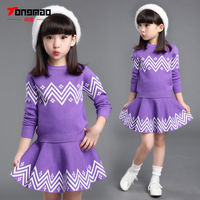 Autumn Winter Warm Children Girls Clothing Set Kids Girls Pullover And Skirt Set Baby Girls Clothes