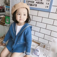 92a08260c children autumn coat baby clothes for boys girls Navy style cotton Knitted  coat Custom colors look