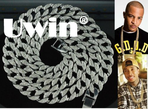 Uwin Full Iced Out Rhinestones Necklace Men Silver Color Cuban Link Chain Bling Bling Hip Hop Joyería de moda