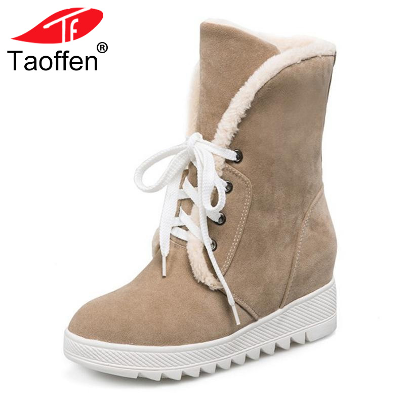 TAOFFEN Russia Women Round Toe Flat Mid Calf Boots Woman Lace Up Shoes Female Warm Thickened Fur Winter Half Botas Size 34-43 eiswelt women mid calf boots winter snow boots warm round toe flat shoes female fashion lace up boots plus size zqs182 page 8