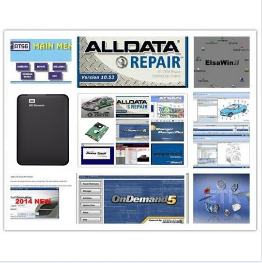 2019 alldata mitchell em software de demanda todos os dados 10.53 + mitchell sob demanda 2015 + elsawin + oficina vívida + atsg 24 em 1tb hdd usb3.0