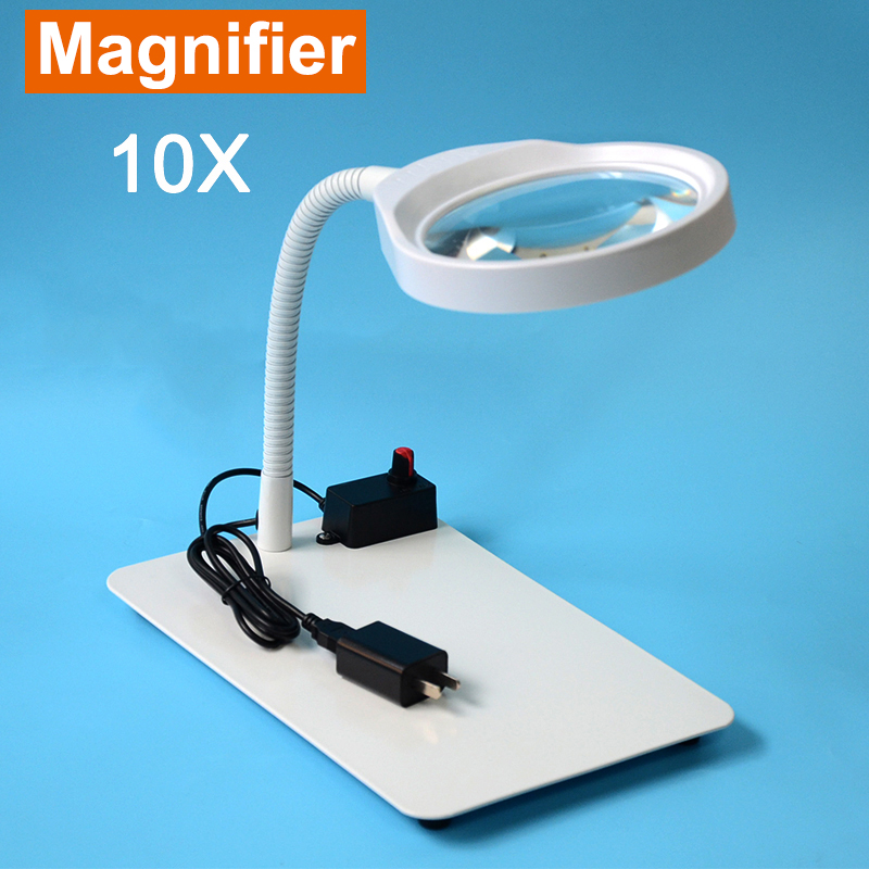 LED Light Magnifier & Desk Lamp Helping Desktop Magnifying Tool Desktop Magnifying glass with usb For School factory laboratory new universal desktop magnifier usb with led light 10x for maintenance reading micro engraving magnifying glass