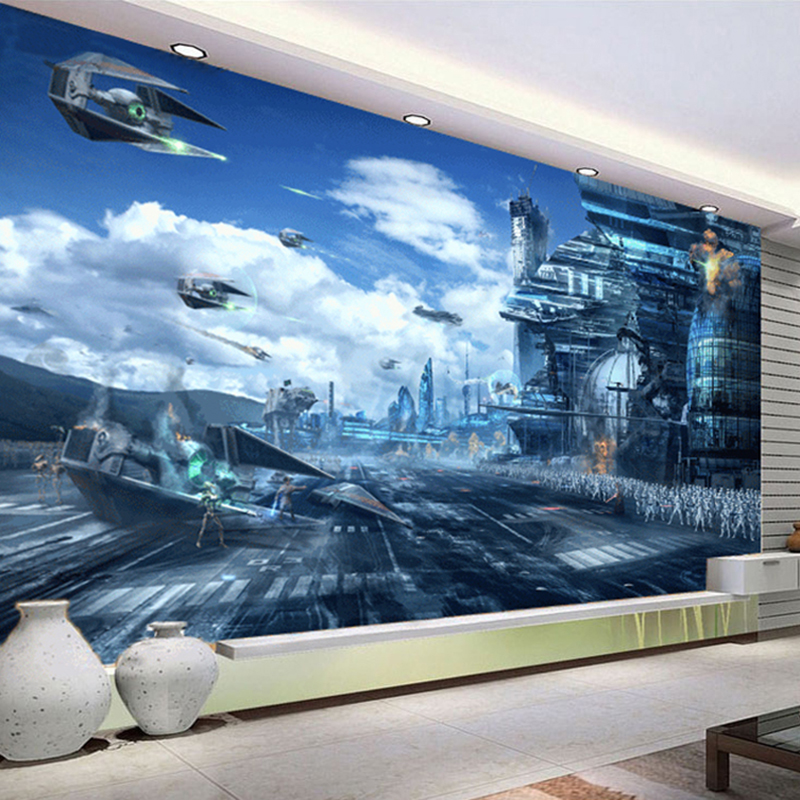 Star Wars Wall Murals popular star wars 3d wall murals wallpaper-buy cheap star wars 3d