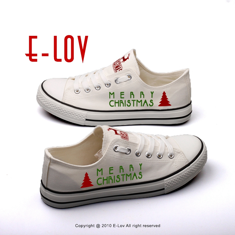 E-LOV New Arrival Christmas Design Canvas Shoes Custom Print Merry Christmas Low Top Casual Flat Shoes Unisex