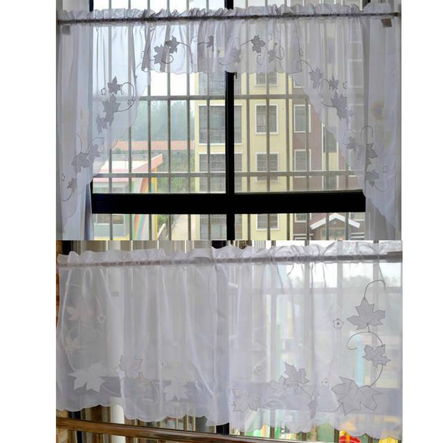 5 Pcs Set Maple Leaf Embroidered Kitchen Window Curtain Set L35