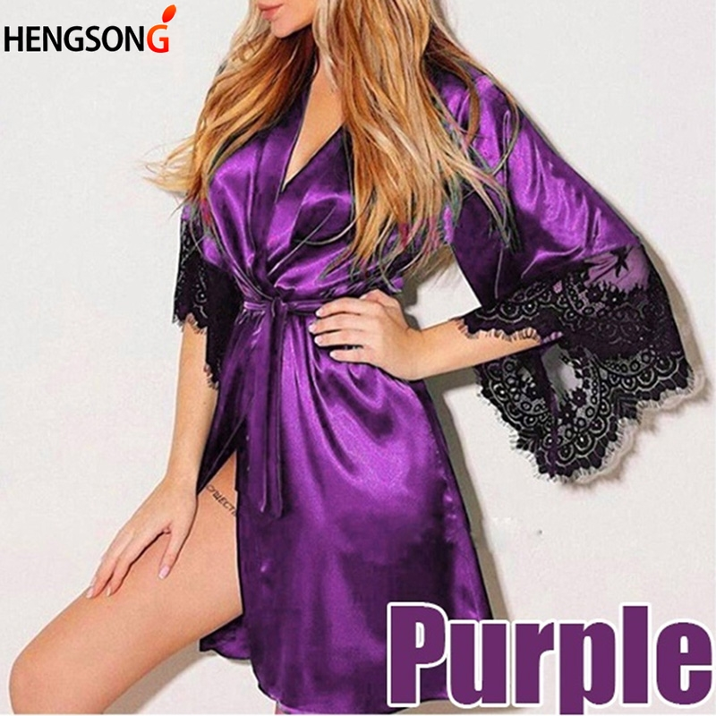 Women Sexy Silk Dress Babydoll Lace Lingerie With Belt Bath Robe Nightwear Plus Size Female Bathrobe