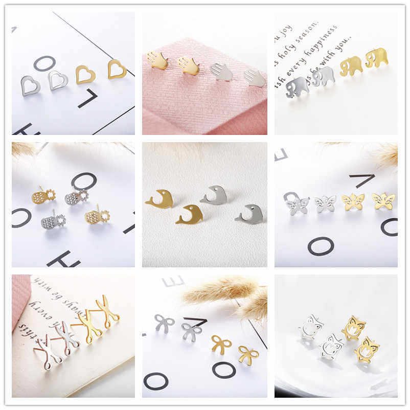 19 Style New Fashion Stud Jewelry Hot Sale Hollow Love Heart Fine gold color Earrings For Woman Accessories Best Gift e018