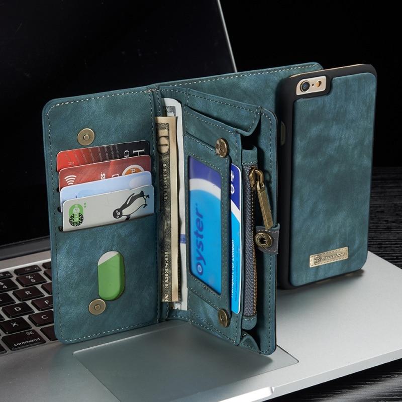 CASEME for iPhone 6s 6 Retro Split Leather Multi slot Purse Case for iPhone 6 s