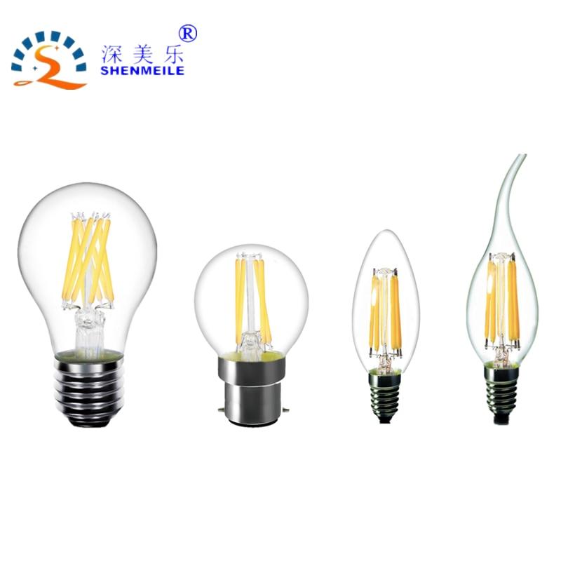 RXR Clear LED Filament Bulb E14 E12 B22 E27 E26 A60 A19 G45 G14 C35 B10 220V 230V 110V Warm White Edison retro LED light Lamp 5pcs e27 led bulb 2w 4w 6w vintage cold white warm white edison lamp g45 led filament decorative bulb ac 220v 240v