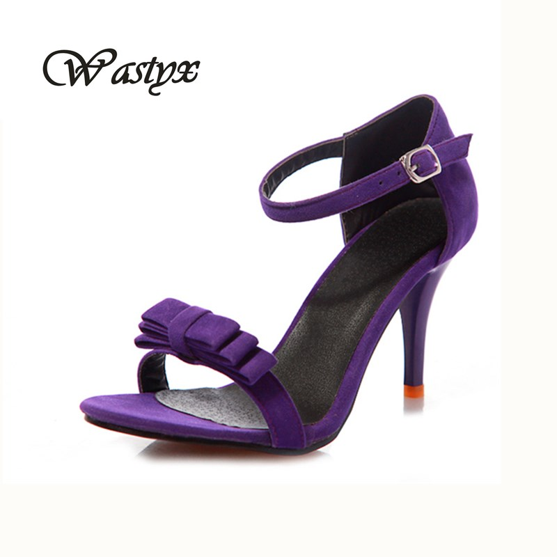 2017 fashion Bow summer sexy thin high heels women pumps shoes woman ankle strap sandals female black nude party big size 34-47 big size 32 44 ankle strap patch color super hoof high heels platform shoes woman spring summer pumps party dress shoes sexy