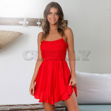 Cuerly New Boho Strapless Party Beach Sundress Spaghetti Strap Dresses Plus Size Summer Women Ruffles Backless Vestdios