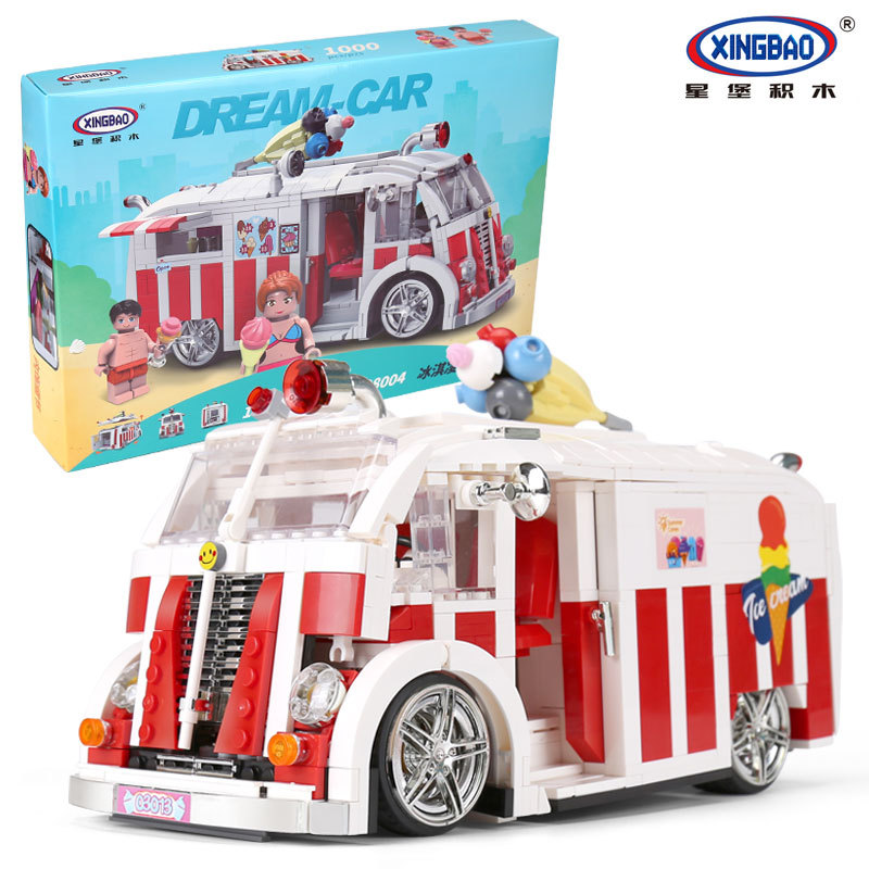 цены 1000pcs XingBao Blocks Creative Ice Cream Car Model Educational Bricks Architecture Kids Gift Childre Christmas present 08004