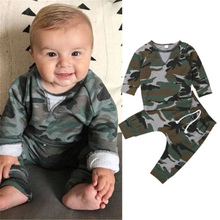 Emmababy New Loose Casual arrival V-neck Line Camouflage Set Handsome Long Sleeve Pullover Comfortable Born Baby Clothes