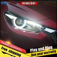 2PCS Car Style LED headlights for Mazda 3 Axela 2017 for Axela head lamp Lens Double Beam H7 HID Xenon bi xenon lens
