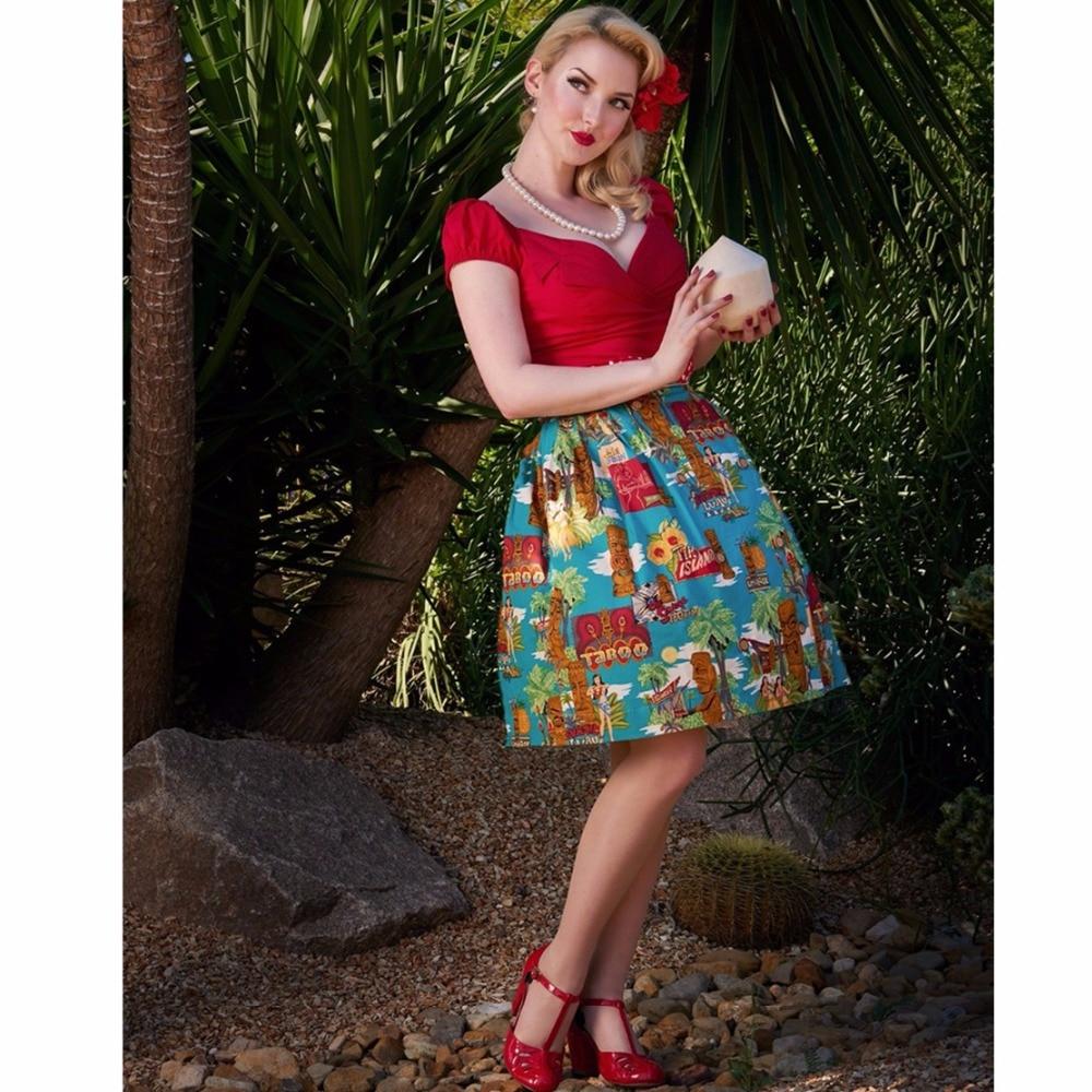 8cfd12bc876 25- women vintage 50s Moai pattern button up midi pleated swing skirt  rockabilly pinup saia