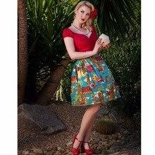 25- women vintage 50s Moai pattern button up midi pleated swing skirt  rockabilly pinup saia plus size 4xl cotton skirts robe 69d406194c00