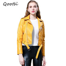 Qooth Short Outwear Soft Faux Leather Jacket Women Fashion Zipper Motorcycle PU Jackets Ladies Street Coat S-XXXL qh1649