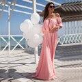 2016 Mujeres Sexy Vestidos de Fiesta de Verano Vestido Maxi Sólido Gasa Fuera Del Hombro Vestidos de Playa Bohemio Elegante Vestido Largo 800235