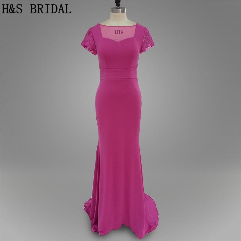Настоящая фотография Фиолетовый Цвет Сексуальная Плотная юбка в форме русалки Длинные спандекс ткань с короткими рукавами Вечерние платья