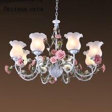 Романтическая пасторальная розовая люстра, железные Цветочные светильники, средиземноморская гостиная, спальня, потолочный светильник