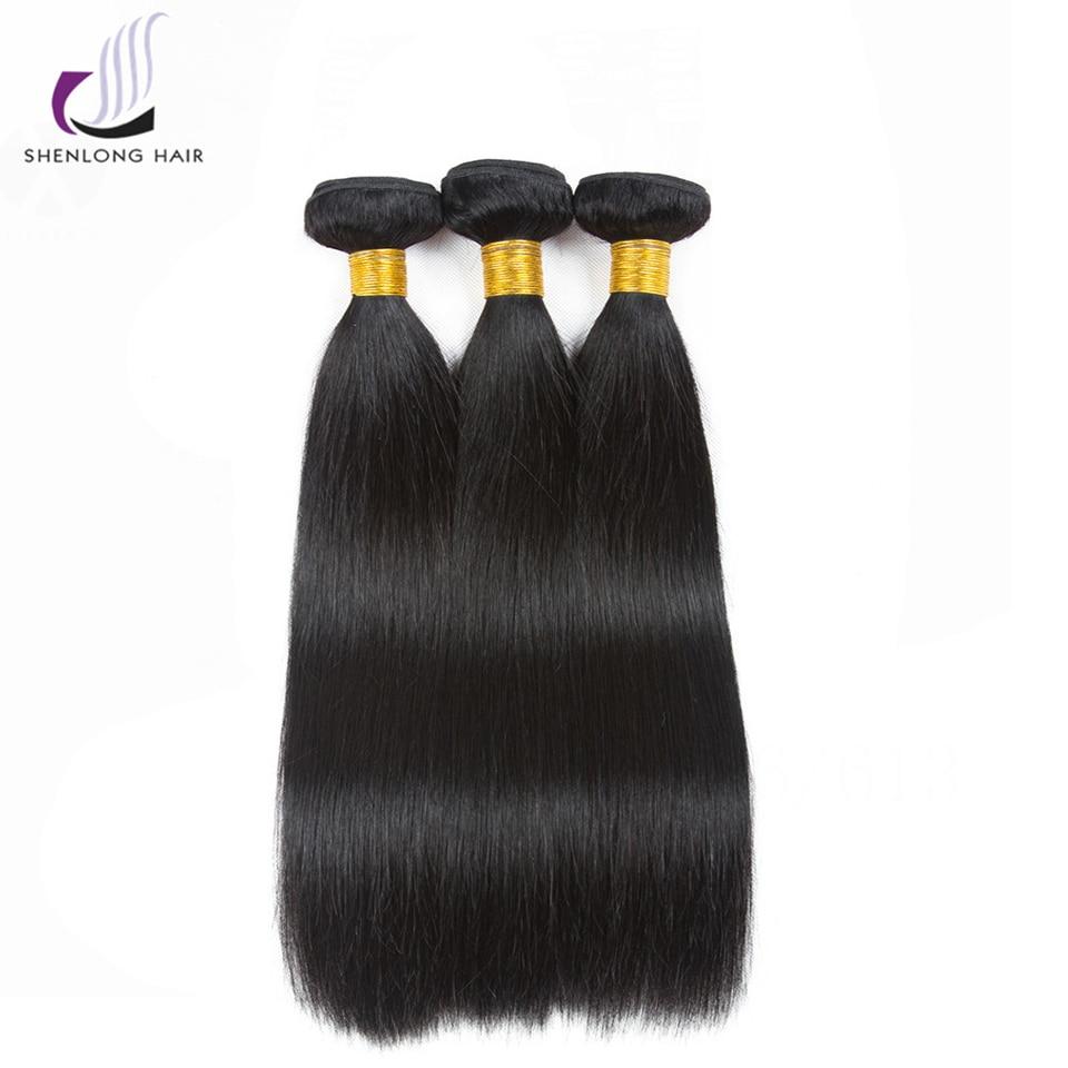 SHENLONG HAIR 3 Bundles Malaysian Straight Hair Weave 100% Human Hair Bundles Natural Color Non Remy Hair Extensions