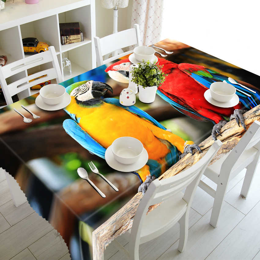 تخصيص جولة مربع الحصان الأسود طباعة الفاخرة الزخرفية 3D طاولة مجلس الوزراء القماش عشاء مفرش طاولة غطاء البوليستر النسيج