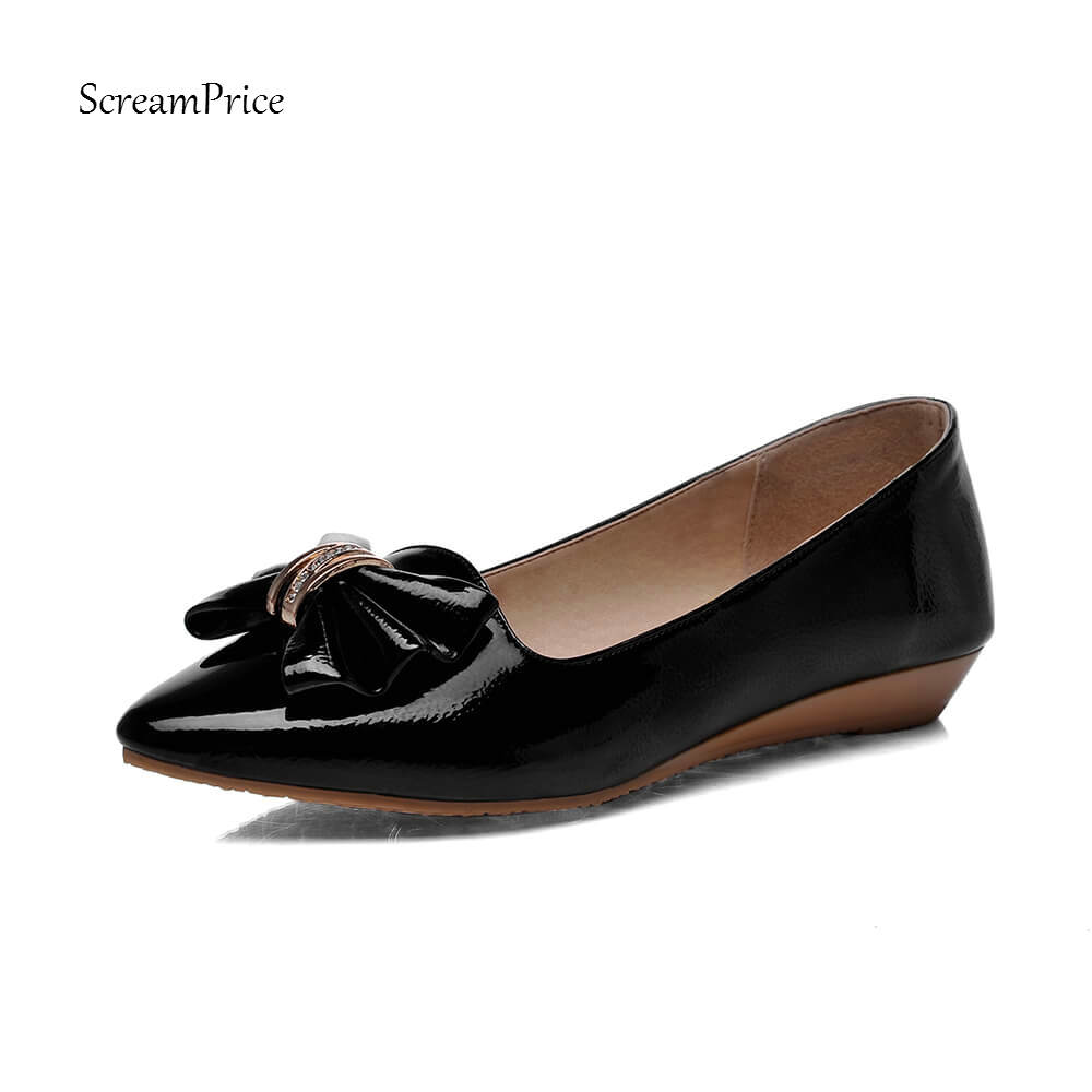 Sweet Bow Knot Women Flats Fashion Pointed Toe Slip On Casual Shoes Spring Autumn Pink Black White Color women genuine leather slip on pointed toe lazy shoes sweet bow knot shallow party spring autumn women pumps black pink