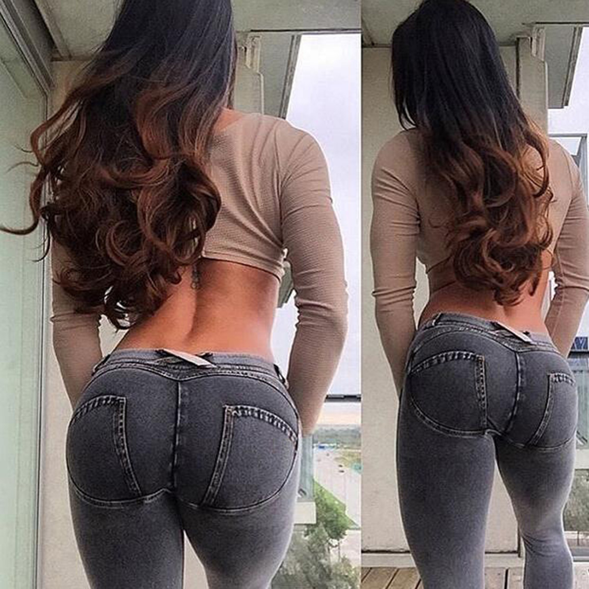 Fashion Women Solid Push Up Blue Sexy Denim Jeans Full Hip