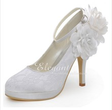 High Heel Lace Flower Wedding Dress Shoes Ankle Strap Lady Shoes Woman Formal Shoes Sweetness Bridal Shoes Platform