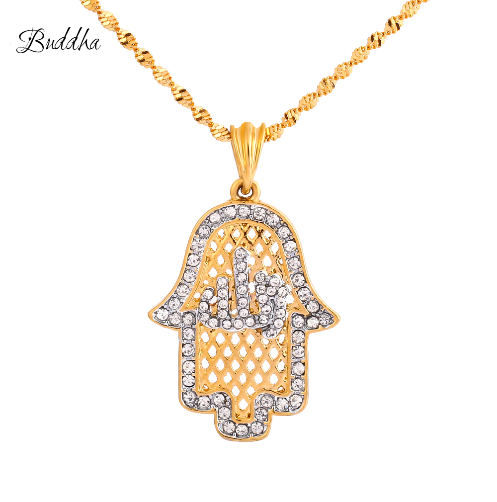 Hot Sale Crystal Hamsa Hand Muslim Necklaces For Womengold Color Allah Hamesh Jewelry Of Fatima Islamic Pendant Amulet
