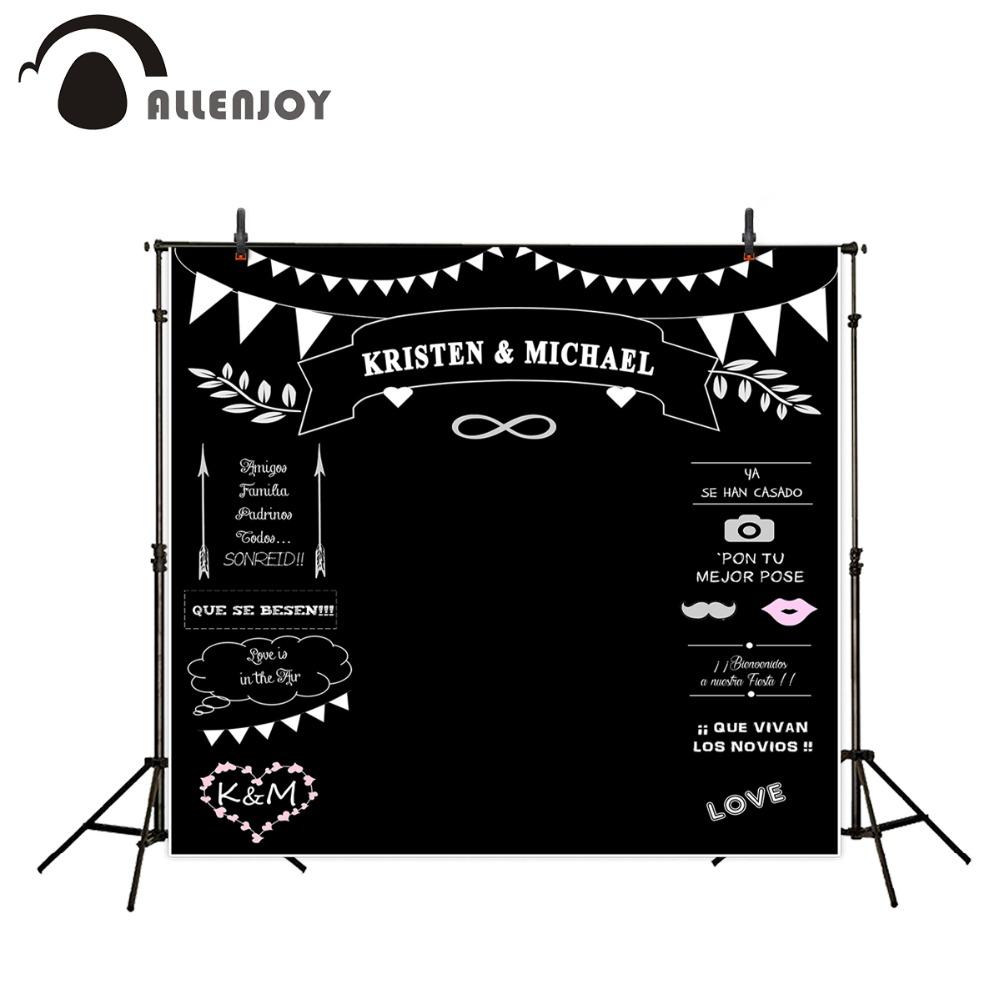Prix pour Photocall Thème de mariage Décors Tableau Noir pour Photo Studio Allenjoy craie Fond Photography personnalisée taille Nom Date