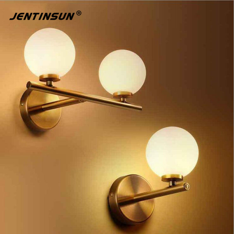 Nordic Style Modern LED Glass Wall Lamp White Ball Magic Bean Lights Indoor Home Lighting Sconce for Bedroom Aisle Living Room new design nature white 2heads 6w 30cm led modern crystal wall lights lamp sconce factory wholesale led lightings