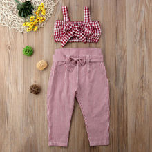 Sleeveless Princess Plaid Crop Top Vest Pants Plaid Bow Cotton Casual Outfits Girls Clothing 2-7T Kids Baby Girl Clothes Set цена 2017