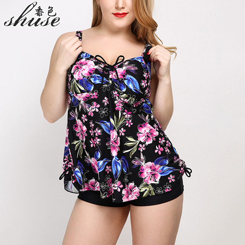 New Summer Swim Dress Swimsuit Big Cup Sexy Women Swimwear Plus Size Tankinis Set Beach Dress Female Large Size Swimsuit Floral plus size floral embroidery tee dress with pockets