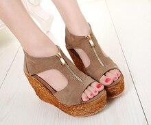 Zipper Platform Wedges Sandals Female Summer Sexy High Heel Sandals Women's High-Heeled Shoes Plataforma Black Calzado Mujer