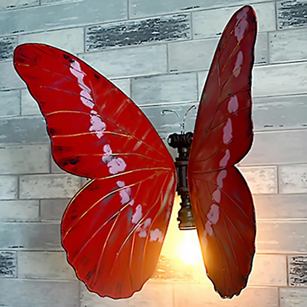 Retro Wall Light Sconces Butterfly Water Tube Pipe Iron Handmade  Beside Light Red butterfly Wall Lamp Home Light Decoration