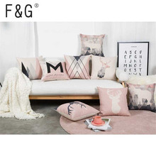 Nordic Style Cushion Decorative Pillows Cover Elephant Gray Throw Case Pink Deer Geometric Cushions for Sofa 45x45