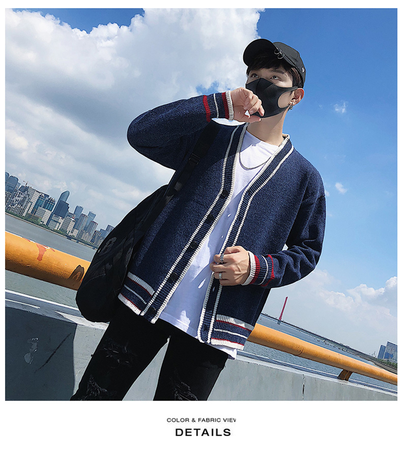 Check Button Cardigan Male Oversize Loose Streetwear (19)